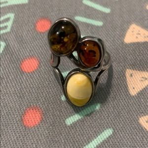 Trio of amber sterling silver ring